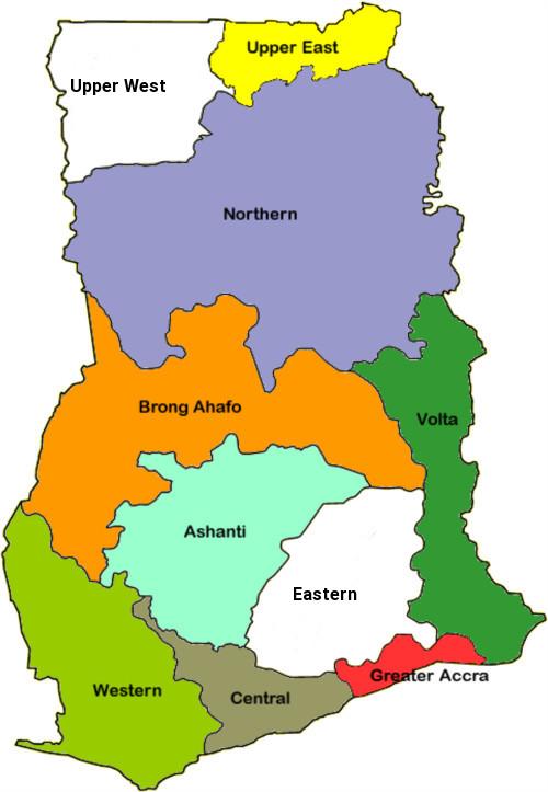 Ghana regional map